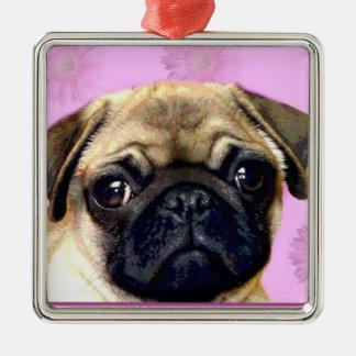 Pug dog metal ornament