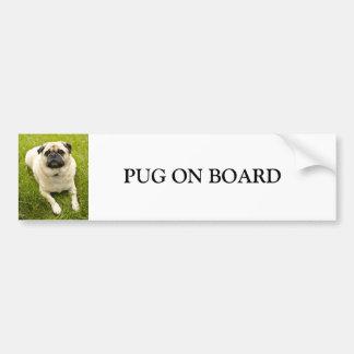 Pug dog on board custom bumper sticker car bumper sticker