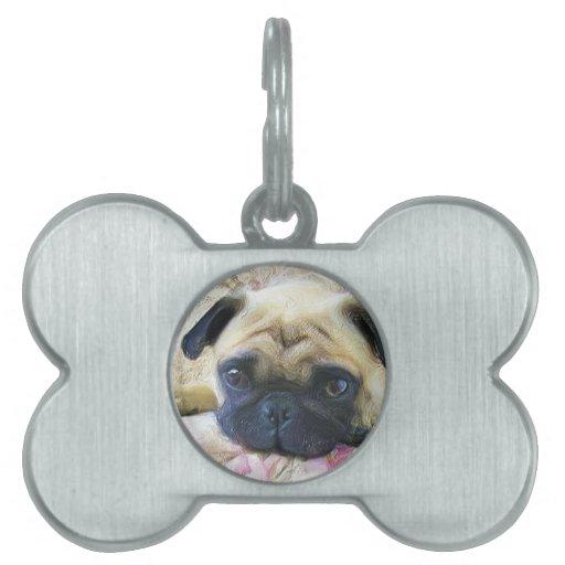 Pug dog pet name tags