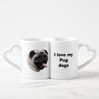 Pug dog pet photo portrait coffee mug set