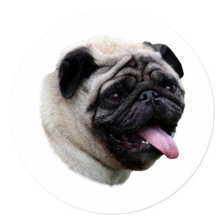 Pug dog pet photo portrait 5.25x5.25 square paper invitation card