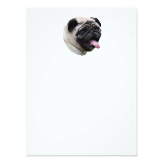 Pug dog pet photo portrait 6.5x8.75 paper invitation card