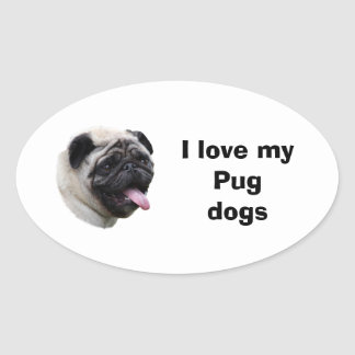 Pug dog pet photo portrait oval sticker