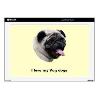 "Pug dog pet photo portrait skin for 17"" laptop"