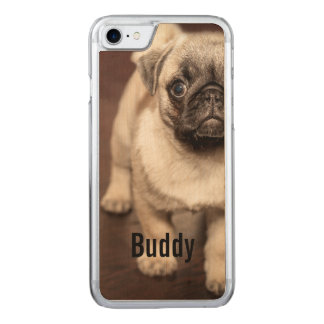 Pug Dog Photo and Your Pug Dog Name Carved iPhone 7 Case