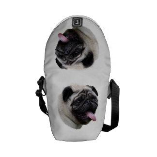 Pug dog photo portrait messenger bags