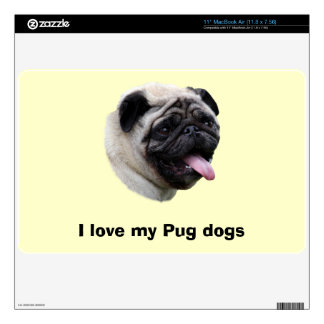 Pug dog photo portrait skin for the MacBook