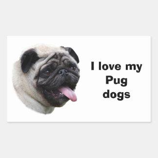 Pug dog photo portrait rectangular stickers
