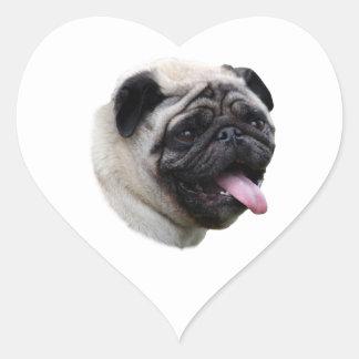 Pug dog photo portrait heart sticker