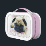 """Pug dog pink lunch box<br><div class=""""desc"""">add text or upload your own image</div>"""