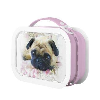 Pug dog pink lunch box