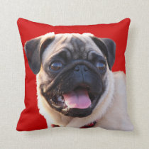 Pug Dog Portrait Throw Pillow