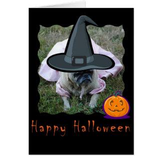 Pug Dog Princess Halloween Card