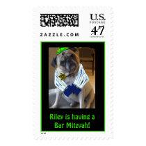 pug, dog. religious, bar mitzvah, bat mitzvah postage