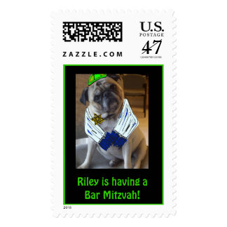 pug, dog. religious, bar mitzvah, bat mitzvah postage stamp