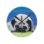 Pug Dog Round Clocks
