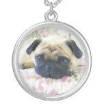 Pug dog round pendant necklace
