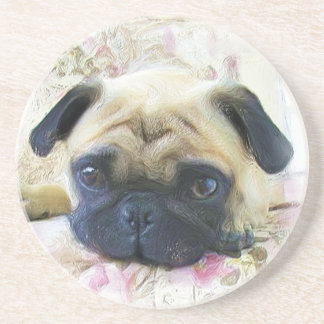 Pug dog sandstone coaster