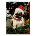 Pug Dog Santa Christmas Card