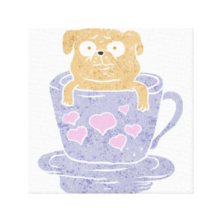Pug dog sitting in purple  cup with heart. canvas print