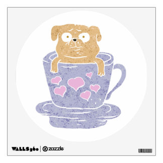 Pug dog sitting in purple  cup with heart. wall sticker