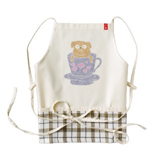 Pug dog sitting in purple  cup with heart. zazzle HEART apron