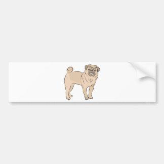 PUG dog standing alone cute! Bumper Sticker