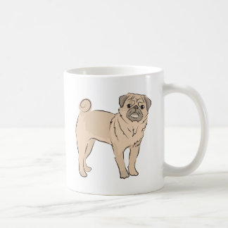 PUG dog standing alone cute! Classic White Coffee Mug