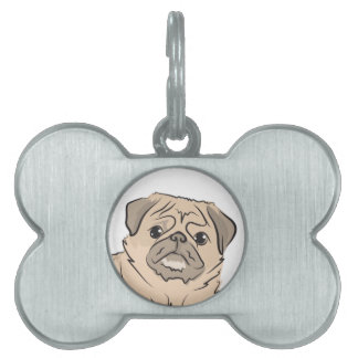 PUG dog standing alone cute! Pet Name Tag