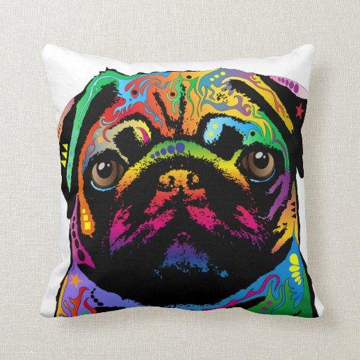 Red Dog Throw Pillows : Pug Dog Throw Pillow Zazzle