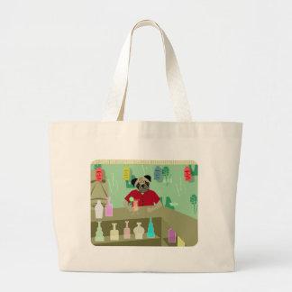 Pug Dog Tiki Bar Canvas Bags