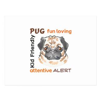 PUG DOG TRAITS POSTCARD