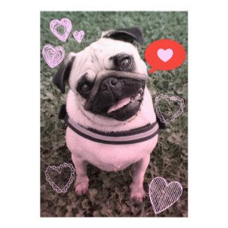 Pug Dog Valentine Invitation Card