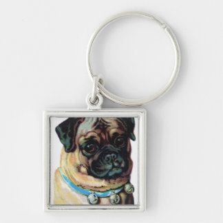 Pug Dog Vintage Silver-Colored Square Keychain