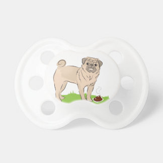 Pug dog with a poo I MADE A PRESENT FOR YOU Pacifier