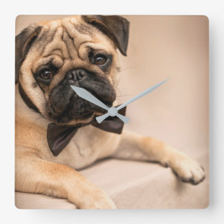 Pug Dog with Bow Tie Square Wall Clock