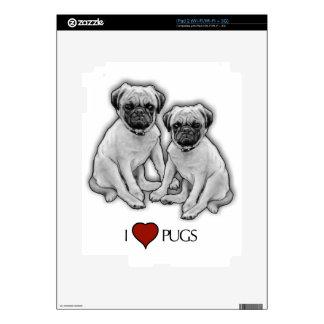 Pug Dogs, I Love Pugs, Pencil Art, Heart iPad 2 Skin