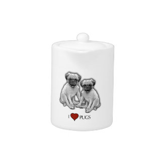 Pug Dogs, I Love Pugs, Pencil Art, Heart Teapot