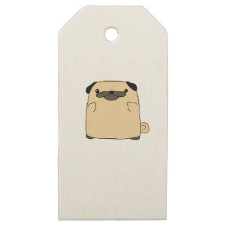 Pug Double Bird Wooden Gift Tags