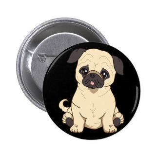Pug Drawing By Pablo Fernandez Limited Edition Button