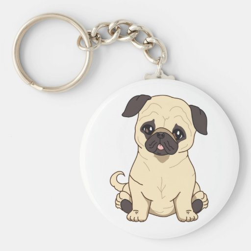 Pug Drawing By Pablo Fernandez Limited Edition Key Chains