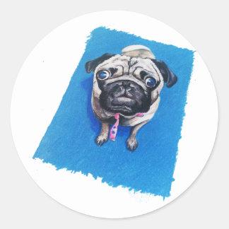 Pug Drawing Classic Round Sticker