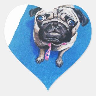 Pug Drawing Heart Sticker