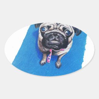 Pug Drawing Oval Sticker