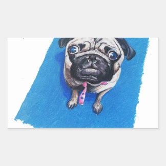 Pug Drawing Rectangular Sticker