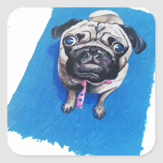 Pug Drawing Square Sticker