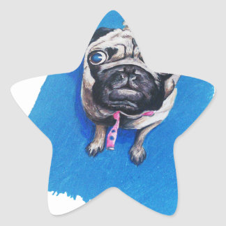Pug Drawing Star Sticker
