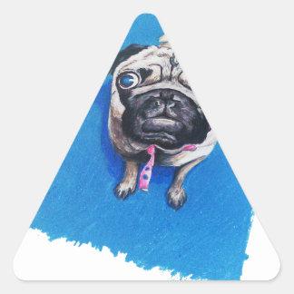 Pug Drawing Triangle Sticker