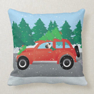 Pug Driving Car with Christmas Tree on Top Pillow