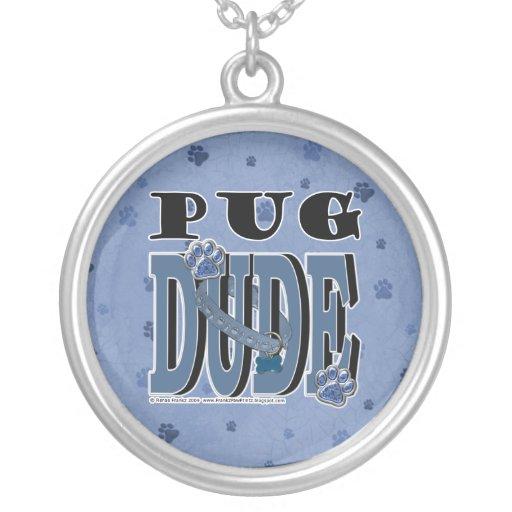 Pug DUDE Round Pendant Necklace